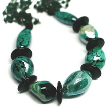 """NECKLACE BLACK, GREEN SPOTTED DROP OVAL MURANO GLASS 45cm 18"""", MADE IN ITALY image 2"""