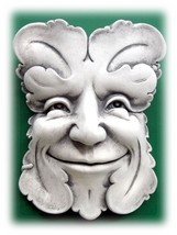 "Handcrafted Concrete 8.5"" Smiling Greenman Face Decorative Home or Garde... - $57.95"