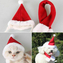 Xmas Pet Cat Dog 2pcs Santa Hat+Scarf Costume Red Christmas Cute Soft Pe... - $7.56+