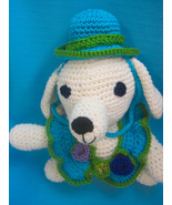 Pet Sets Dog Cat Ruffle Hat & Collar Aqua Purple Rose Buds Handmade Croc... - $18.00