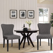Set of 2 Grey Fabric High Back Dining Chairs - $184.00