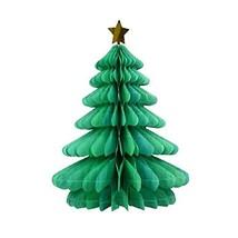 Christmas Tissue Paper Trees Centerpiece Table Center Handmade Honeycomb... - $9.34
