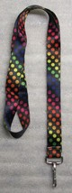 Polka Dots Multi Color LANYARD KEY CHAIN Ring Keychain ID Holder NEW - $9.99