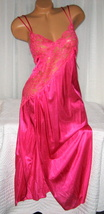 Lace Bodice Long Nightgown 1X 2X 3X Nylon Fuchsia Pink Lingerie Slit - $22.00