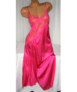 Lace Bodice Long Nightgown 1X 2X 3X 4X Nylon Fuchsia Pink Lingerie Slit - $22.00