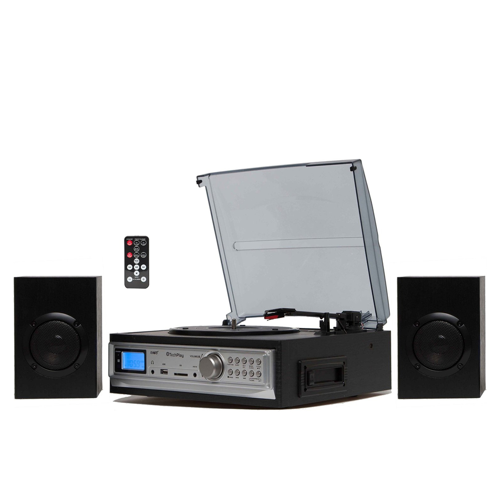 TechPlay Black 3-Speed Turntable & Cassette player W/SD, USB and MMC