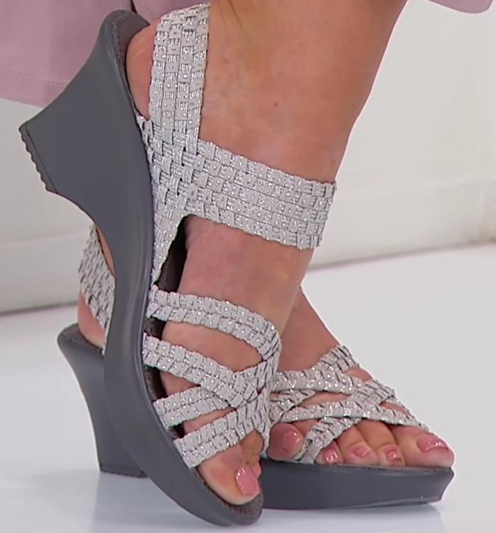 Steve Madden Torrist Woven Wedge Sandal, Silver, Size US 8.5
