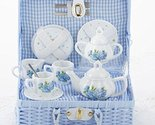 Delton Child's Porcelain Tea Set for 2 in Wicker Basket Hydrangea 8117-2