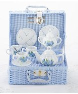 Delton Child's Porcelain Tea Set for 2 in Wicker Basket Hydrangea 8117-2 - £29.94 GBP