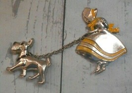 Vintage Victorian Costume Lady with Attached Dog on Lease Silver Tone Br... - $13.96