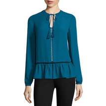 a.n.a Long-Sleeve Peplum Blouse Size XS, S New Tahoe Teal Msrp $36.00 - $14.99
