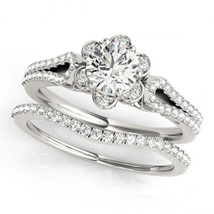 White GP 925 Silver Flower Style Engagement Bridal Ring Set White CZ Rou... - $84.40