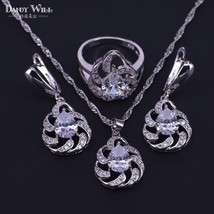 Amazing present for women earrings necklace ring set silver color  costu... - $28.73
