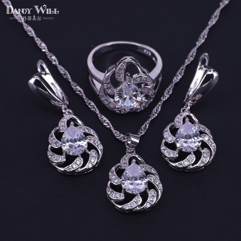 Primary image for Amazing present for women earrings necklace ring set silver color  costume jewel