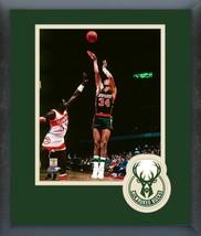 Terry Cummings 1990 Milwaukee Bucks Action-11x14 Team Logo Matted/Framed... - $43.55