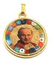 """MURANO GLASS MEDAL PENDANT, POPE JOHANNES PAULUS II, SAINT, 25mm 1"""" FLOWER FRAME image 1"""