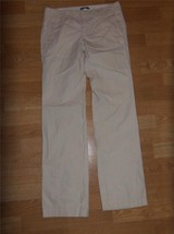 Womens GAP Tan White Striped Cotton STRAIGHT FIT Leg PANTS Slacks 1 W4867 - $14.50