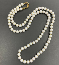 "Napier White Beaded Necklace Vintage Plastic Gold Tone Signed 30"" - $14.80"