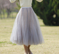 Sage Green Puffy Tulle Skirt Outfit High Waisted Midi Tulle Skirt Holiday Outfit image 5