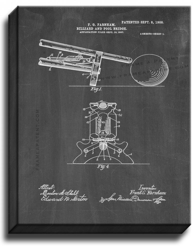 Primary image for Billiard And Pool Bridge Patent Print Chalkboard on Canvas