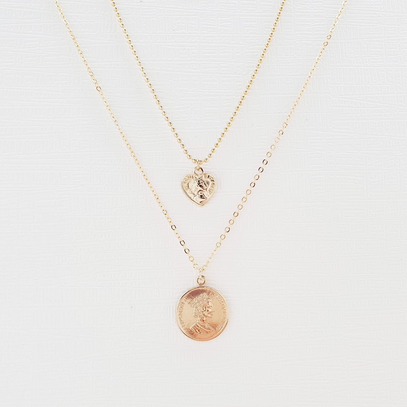 Multi-Strand Coin Heart Pendant Double Necklace Ball Chain Choker Gold Tone N23