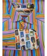 ROBERT GRAHAM Mens Striped Vintage Radio Print Shirt M French Cuffs Mult... - $45.53
