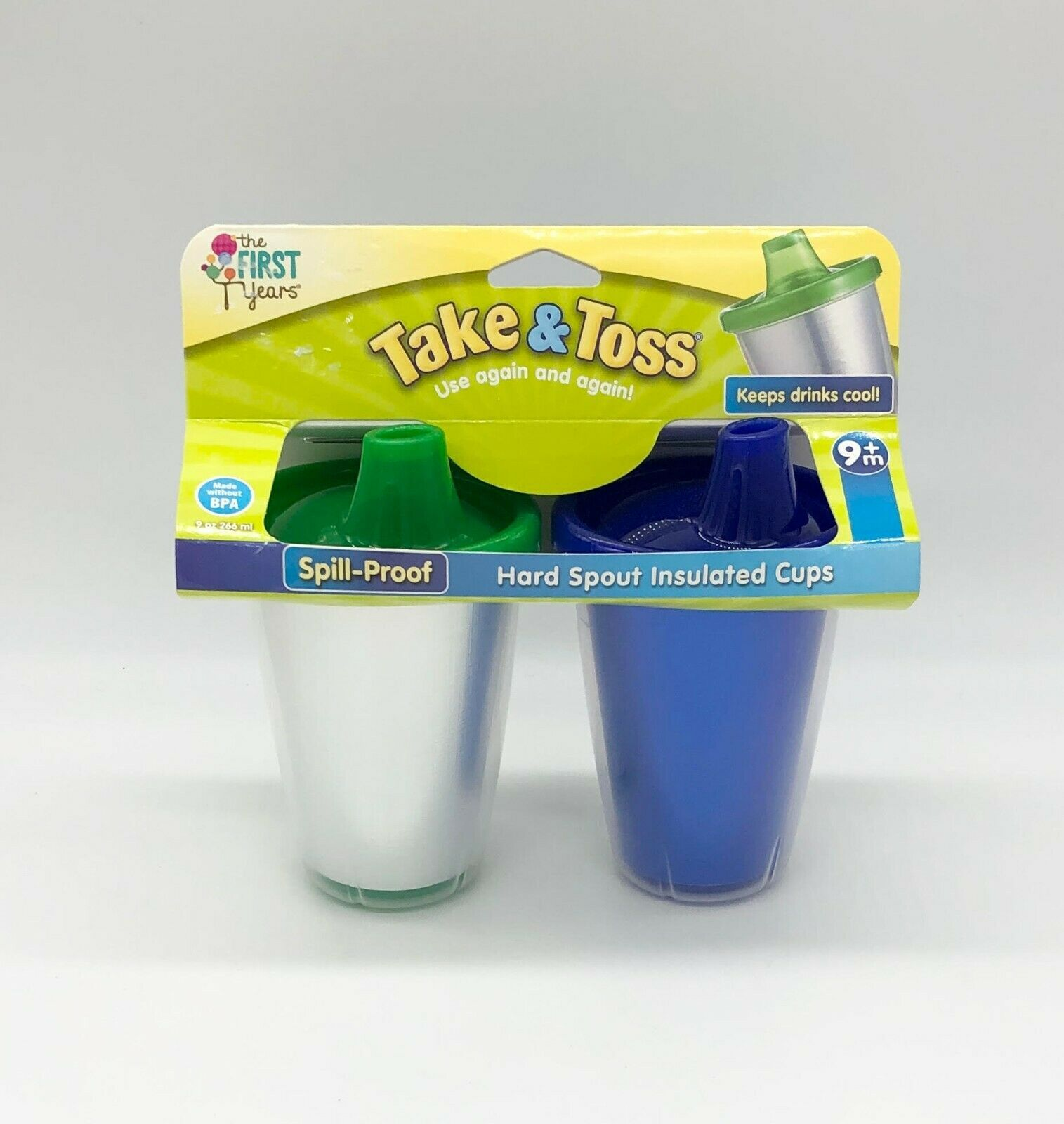 Take And Toss Sippy Cups Spill Proof and Insulated 2 Pack Blue & Silver Age 9M+ - $11.87