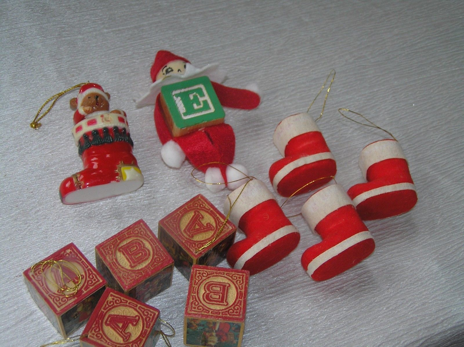 Lot of 11 Faux Wood Building Blocks Folk Art Elf Flocked Christmas Stocking  image 5