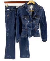VTG 90s Baby Phat Jean Jacket (S) & Jeans (1) Blue Gold Paint Splatter S... - $49.50