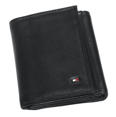 Tommy Hilfiger Men's Leather Trifold Wallet,Oxford Black