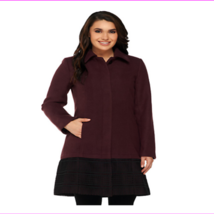 Isaac Mizrahi Live! Women's Melton Coat with Eyelet Trim MSRP 169.50 - $42.01 - $42.27