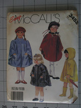 McCalls 1980s SEWING Pattern Children Easy Unlined Cape, Rain Coat Size Small - $6.99