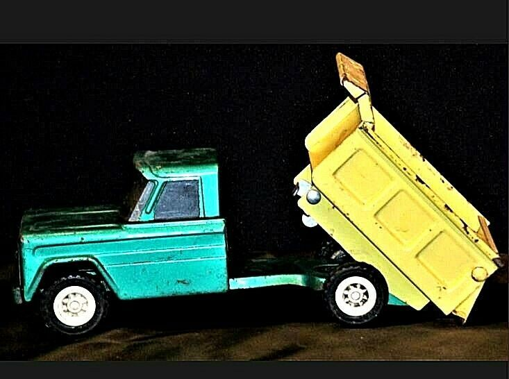 Vintage 1960s Structo Kom Pak Dump Truck Green and Yellow AA19-1431