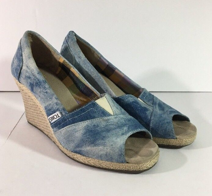 1fe6846551b Toms Blue Denim Canvas Open Toe Wedge Casual and 50 similar items. S l1600