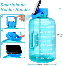 Gallon Sports Fitness Water Bottle with Time Marker Leakproof Straw Lid BPA Free - $26.81