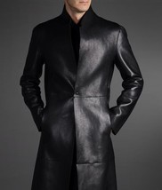 Men Leather Coat Winter Long Leather Coat Genuine Real Leather Trench COAT-UK31 - $214.46