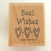 Stampin Up Simple Wishes Rubber Stamp Best Wishes Hearts Sentiment Card Making - $2.99