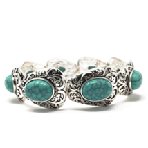 Turquoise Filigree Silver Stretch Bracelet Fashion Jewelry For Women Classic - $20.59