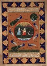 Persian Miniature Art Handmade Illuminated Manuscript Calligraphy Folk P... - $54.99