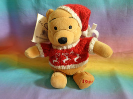 "Vintage 1999 Disney Store Winnie the Pooh Winter Sweater 8"" Bean Bag Plush - $5.89"