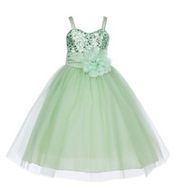 SpaghettiStraps Sequin Tulle Flower Girl Dress Bridesmaid Pageant Easter... - $39.99
