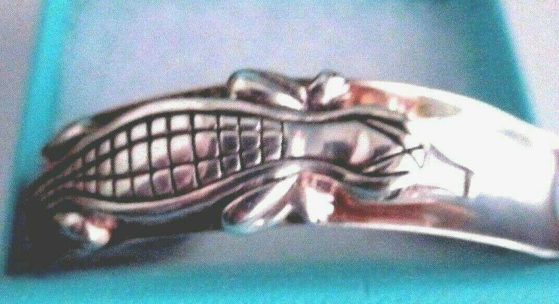 Barry Kieselstein Cord 2003 Sterling Silver Diamond Eyes ALLIGATOR Cuff Bracelet