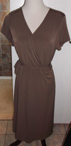 ATTENTION BROWN WRAP FRONT STRETCH JERSEY KNIT DRESS NWOT MISSES SIZE LARGE - $23.38