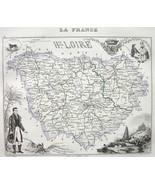 FRANCE Dept Haute Loire & View City of Puy - 1851 COLOR MAP Original - $6.75