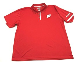 Section 101 Wisconsin BADGERS Polo Men's Red Heather Golf Shirt Size 2XL... - $17.83