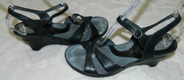 8 Womens SANDALS Ankle ARTISAN Strap LEATHER B CLARKS 5 CHIC BLACK T Heels qgEUwFw5