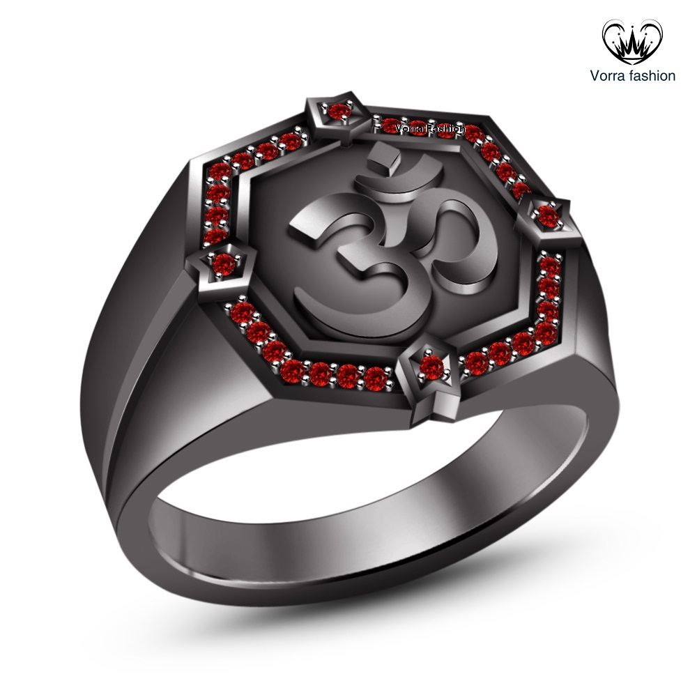 "Primary image for Black Gold Finish 925 Sterling Silver Round Cut Red Garnet Men's SPL ""OM"" Ring"