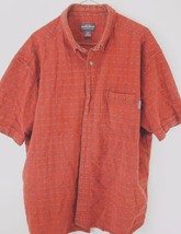 Mens Woolrich Shirt Woven Burnt Orange Short Sleeve Cotton XL Extra Large - $21.97
