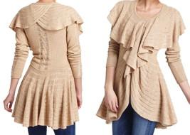 Anthropologie Ridged Ruffles Cardigan Petite Small 2 4 Beige PS Skirted Sweater - $90.30