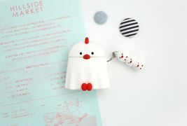 Romane AirPods Peep Peep Protective Silicone Skin Cover Case Keychain (White) image 3